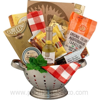 Italy in a handy metal colander includes authentic italian gourmet